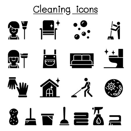 Cleaning house & Hygiene icon set Stock Illustratie