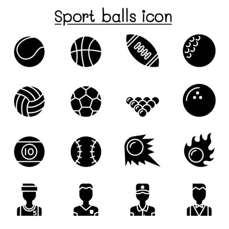 Sport balls icon set vector illustration graphic design  イラスト・ベクター素材