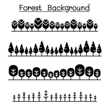Forest landscape in panorama view vector illustration graphic design