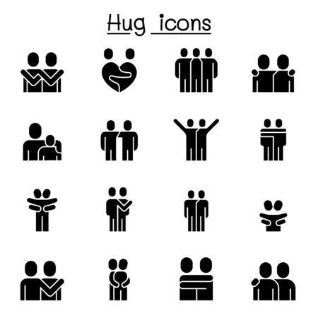 Minnaar, knuffel, vriendschap, relatie icon set vector illustratie grafisch ontwerp