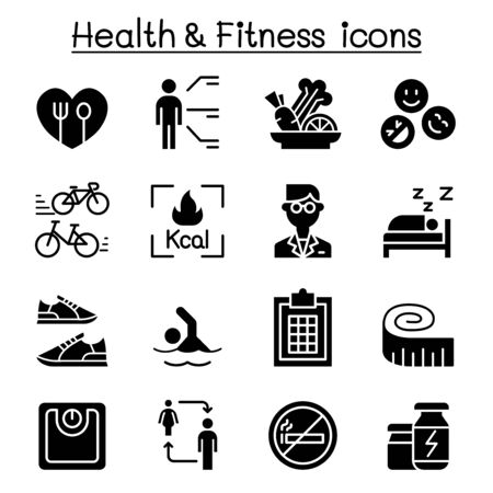 Heath, Fitness, Diet icon set vector illustration graphic design