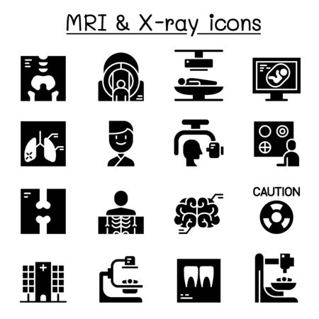 X-ray, MRI & Medical diagnostic icon set vector illustration graphic design