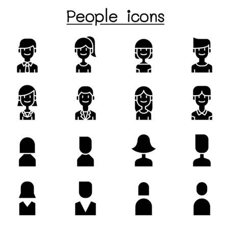 People, User icon set in flat style Vettoriali