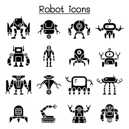 Robot icon set vector illustration graphic design