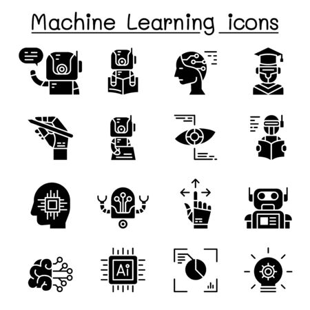 Machine learning icon set vector illustration graphic design