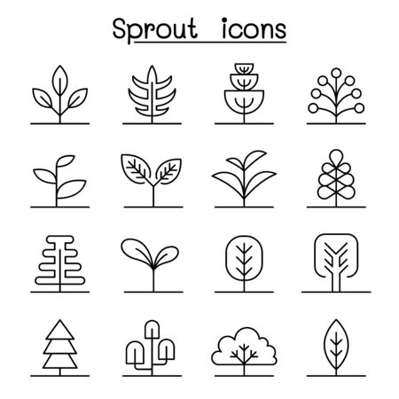 Sprout icon set in thin line style