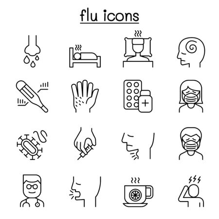 Cold, flu, allergy & sick icon set in thin line style