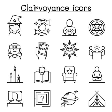 Clairvoyance, fortune teller icon set in thin line style Illustration
