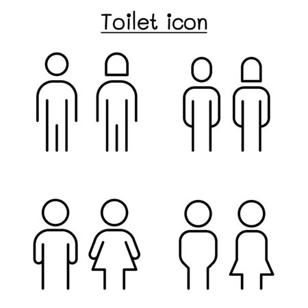 Toilet, Restroom sign in thin line style