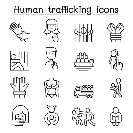 Human trafficking icon set in thin line style