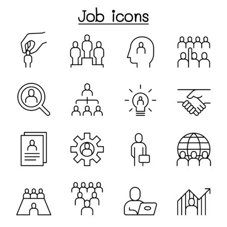 human resources icon set in thin lines style