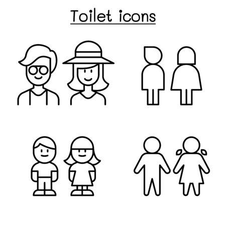 Toilet icon set in thin line style Ilustración de vector
