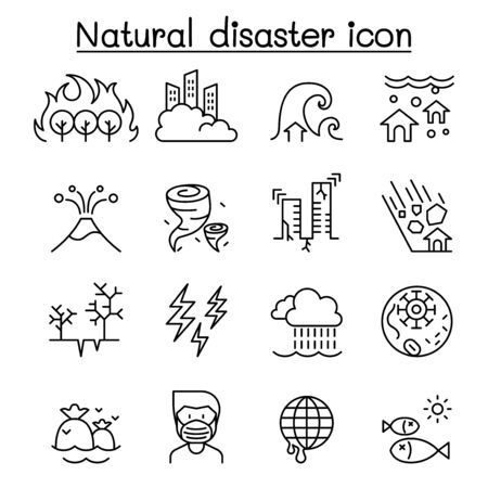 Disaster icon set in thin line style