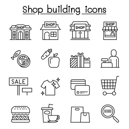 Shop building, Shopping mall, supermarket icon set in thin line style
