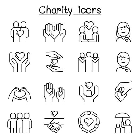 Charity, volunteer, friendship, helping icon set in thin line style  イラスト・ベクター素材