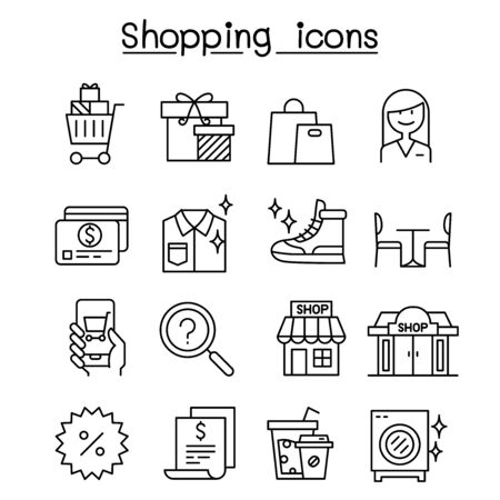 Shopping icon set in thin line style  イラスト・ベクター素材