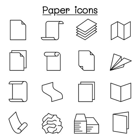 Paper & Document icon set in thin line style