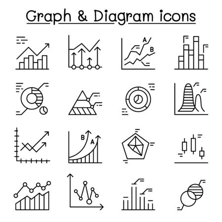 Graph, Diagram & chart icons set in thin line style Ilustrace