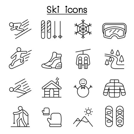 Ski icons set in thin line style