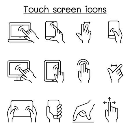 Ikona ekranu dotykowego ustawiona w stylu cienkiej linii