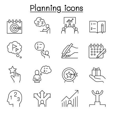 Planning, strategy, schedule icon set in thin line style