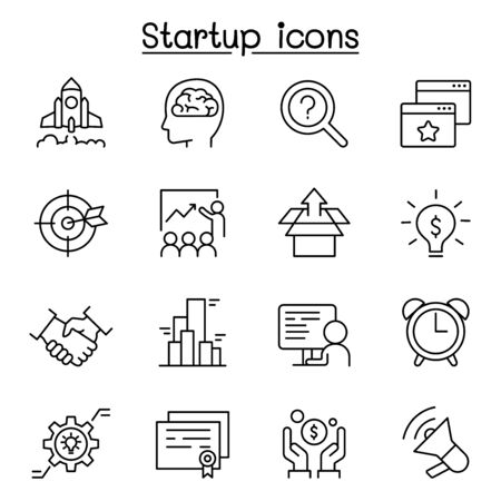 Startup icon set in thin line style Illustration