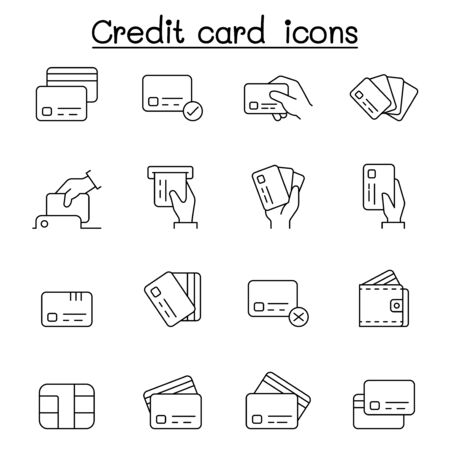 Credit card, Debit card, Payment, Shopping icons set in thin line style
