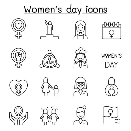 Female, woman, feminist, women's day icons set in thin line style