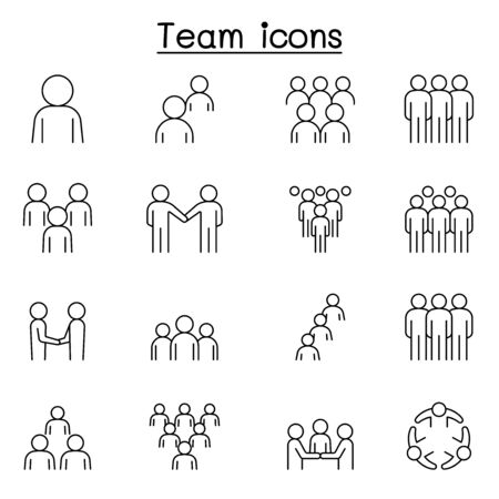 Teamwork, team, people icons set in thin line style