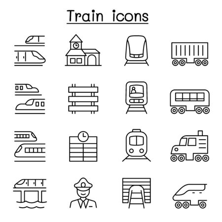 Train icons set in thin line style Illustration