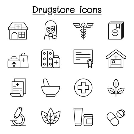 Drugstore, apothecary icons set in thin line style