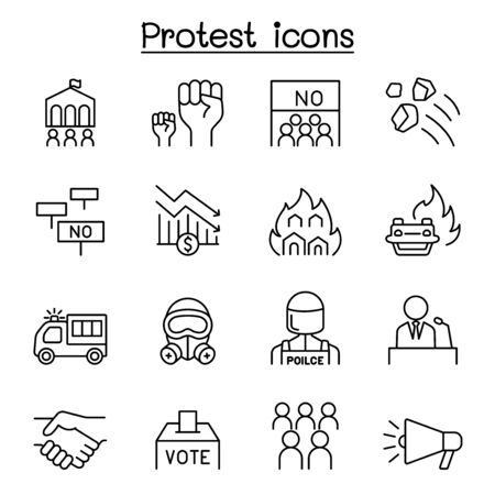 Protest & chaos icon set in thin line style