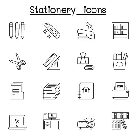 Stationery icon set in thin line style