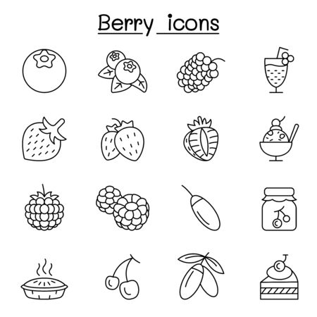 Berries icon set in thin line style Иллюстрация