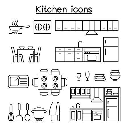 Kitchen icon set in thin line style