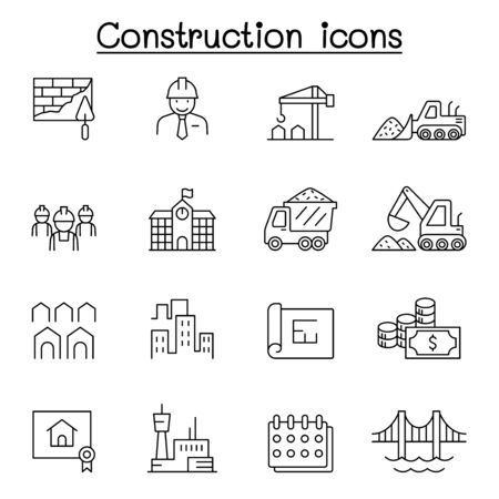 Construction icons set in thin line style Ilustração