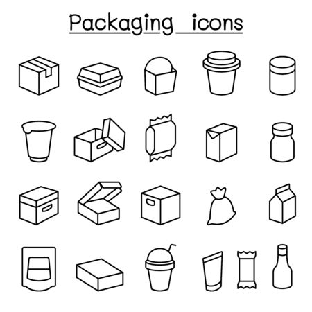 Package icon set in thin line style