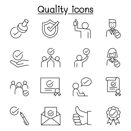 Quality, Approved, Check mark icons set in thin line style