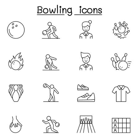 Bowling icons set in thin line style 일러스트