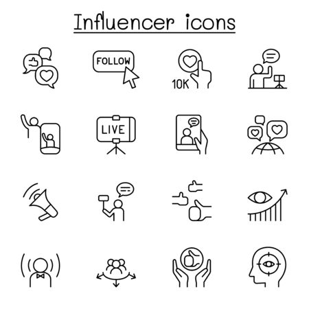 Influence people & Brand ambassador icon set in thin line style