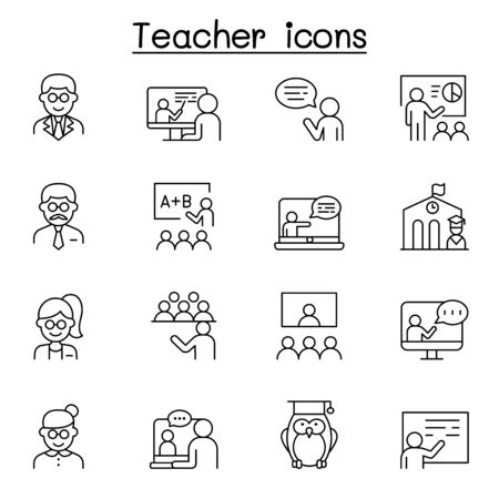 Teacher icons set in thin line style