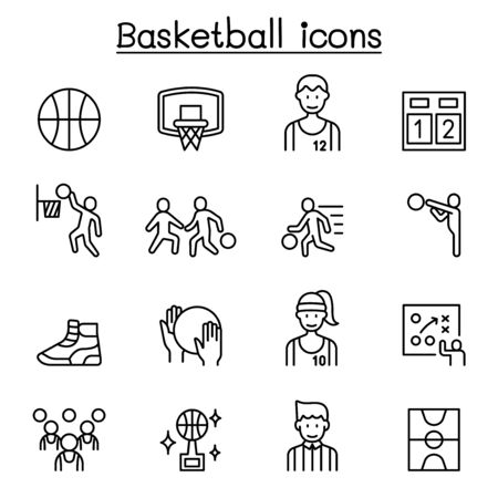 Basketball icons set in thin line style