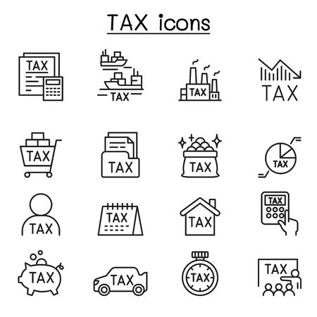 Tax icons set in thin line style