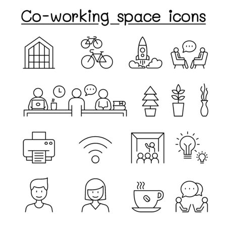 Co-working space & Startup icons set in thin line style