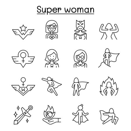 Super woman icon set in thin line style Illustration