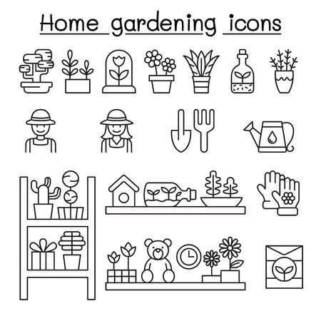 Home gardening icons set in thin line style