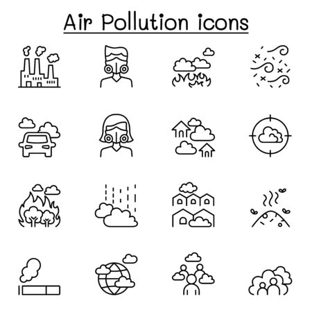Air pollution & Virus disease icon set in thin line style