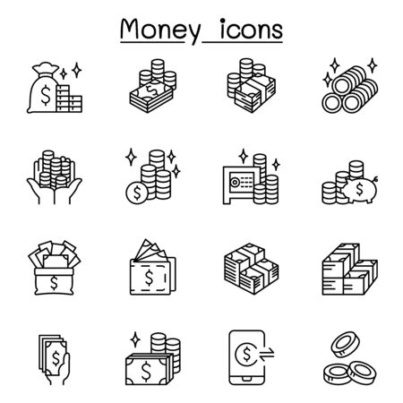 Money, cash, currency & coin icons set in thin line style