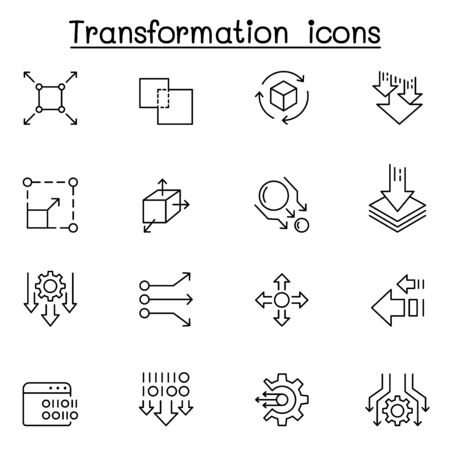 transform, edit, change, scale, update icon set in thin line style