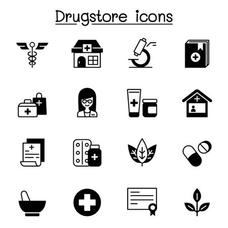 Drugstore, apothecary icons set vector illustration graphic design Illustration